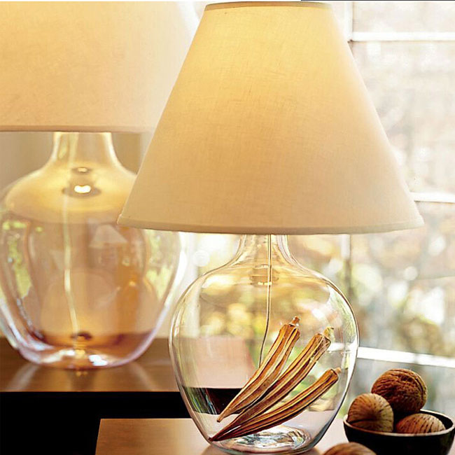 North Country Blown Glass Bottle and Flax Shade Table Lamp 10603