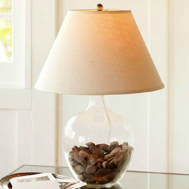 Country Blown Glass and Flax Shade Table Lamp 10615