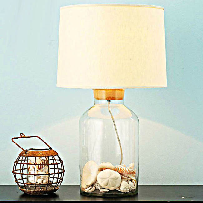 North Country Blown Glass and Flax Shade Table Lamp 10616