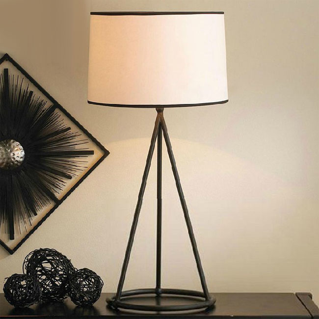 North Country Iron Art and Flax Shade Table Lamp 10617