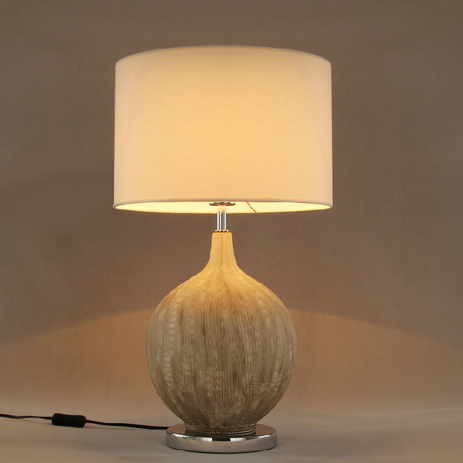North Country Ceramic And Flax Shade Table Lamp 10682