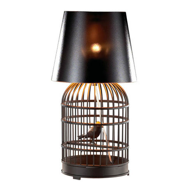 Modern Iron Birdcage And PVC Shade Black Table Lamp 10686