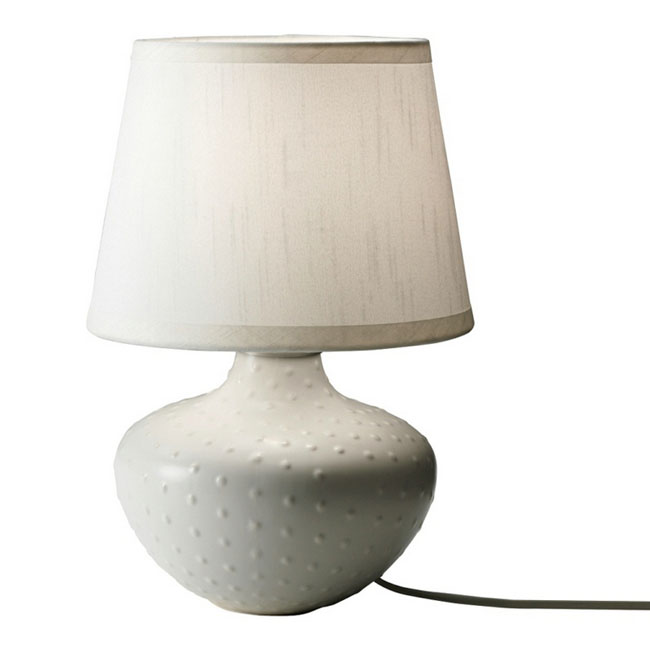 Modern Ceramic Site and Flax Shade Table Lamp 10709