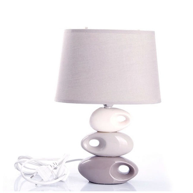 Modern Ceramic Stone And Flax Shade Table Lamp 10726