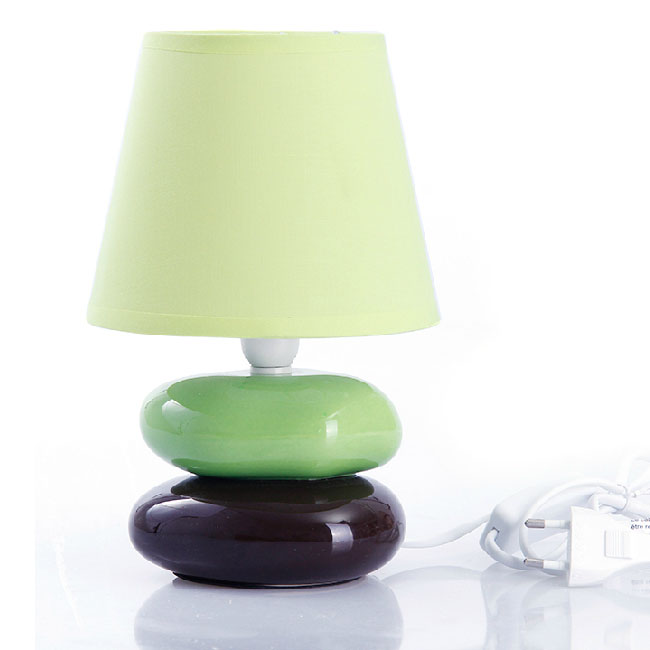 Modern Ceramic Stone and Flax Shade Table Lamp 10728