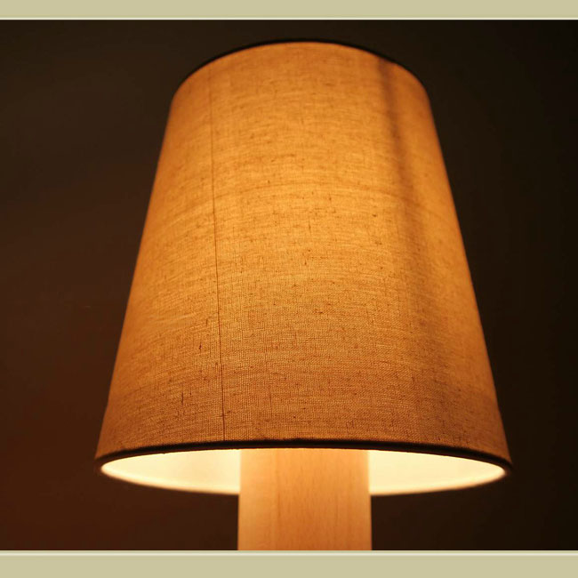 Modern Wood Site and Flax Shade Table Lamp 10787