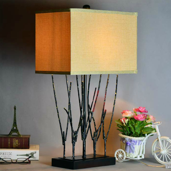 Country Iron and Flax Shade Table Lamp 10807