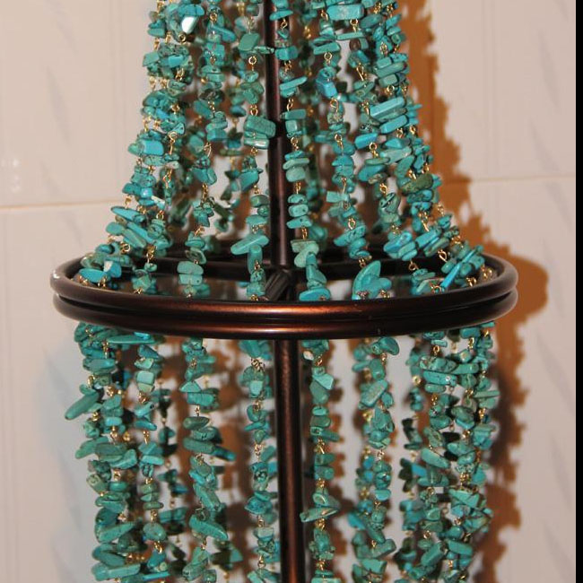 Antique turquoise and Iron Art Table Lamp in Bronze Finish 10818