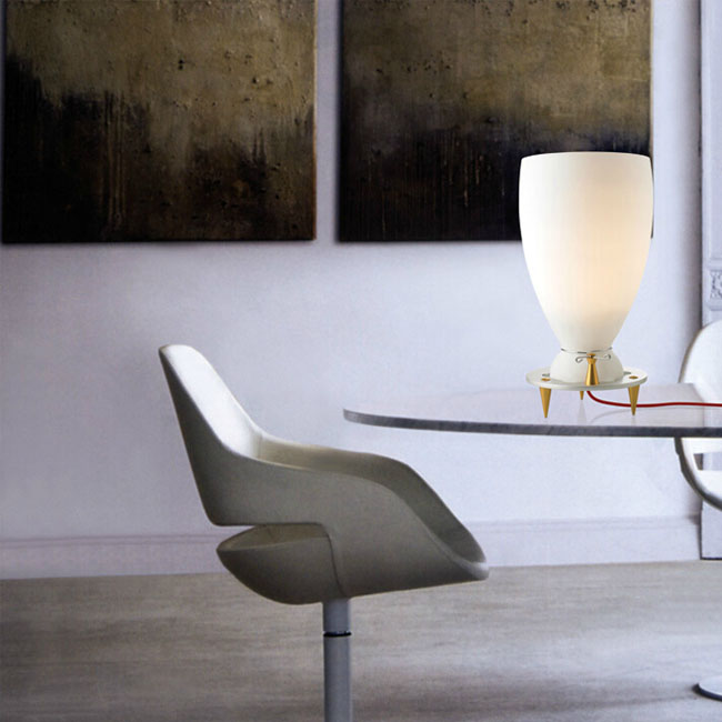 Modern PHX Matte Glass and Metal Canopy Table Lamp  11149