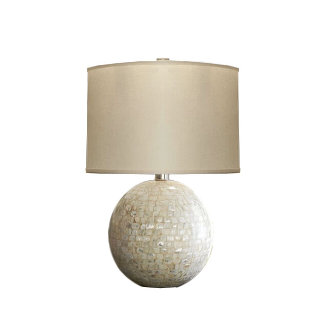 Country Shell Site and Flax Shade Table Lamp 11301