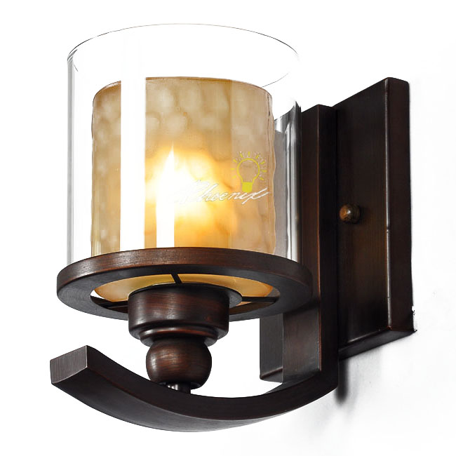 Iron and Glass Wall Sconce in Brushed Bronze Finish 7620