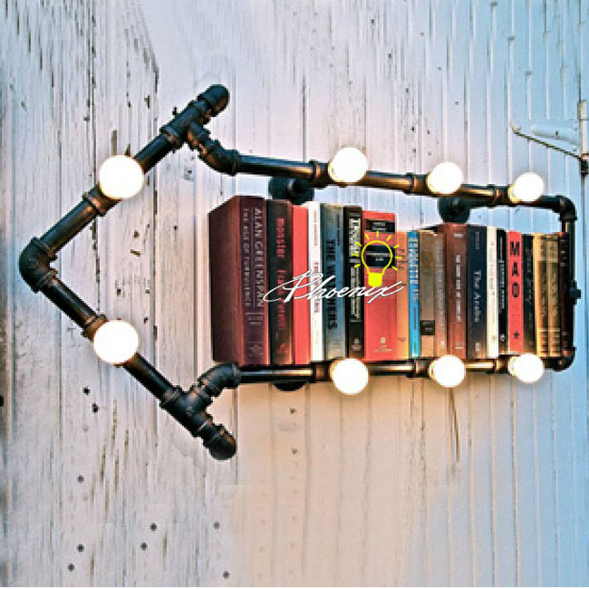 Loft Industrial BookShelf 8 Lights Wall Sconce 8111