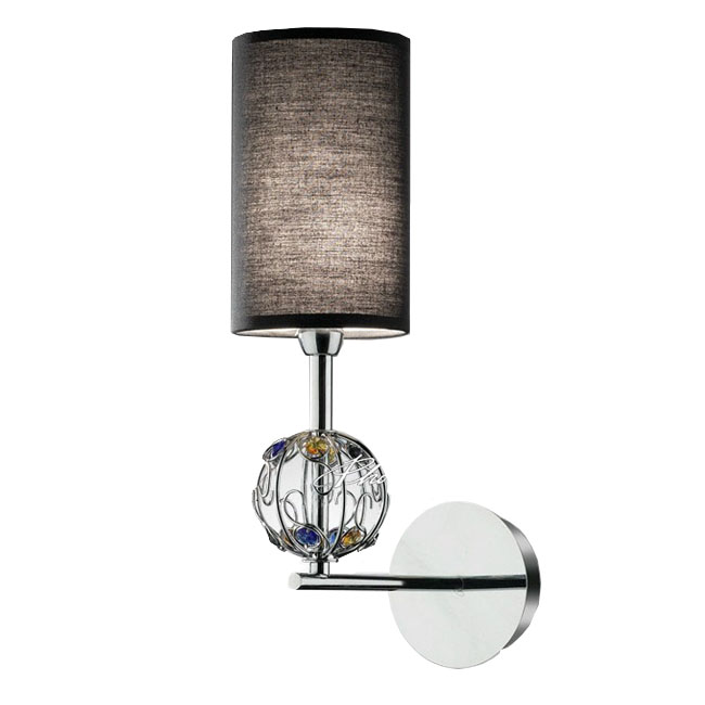 Modern Fabric and Crystal Wall Sconce in Chrome Finish 8346