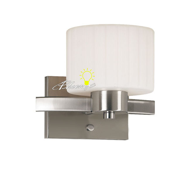 Modern Simple Metal and Glass Wall Sconce in Nickel Finish 8626