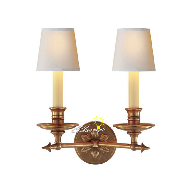 Harbor House Double lights Copper And Fabric Wall Sconce 8760