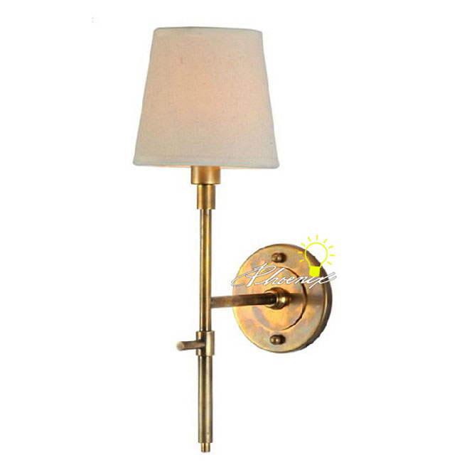 Antique Fabric and Copper Wall Sconce in Brushed Finish 8766