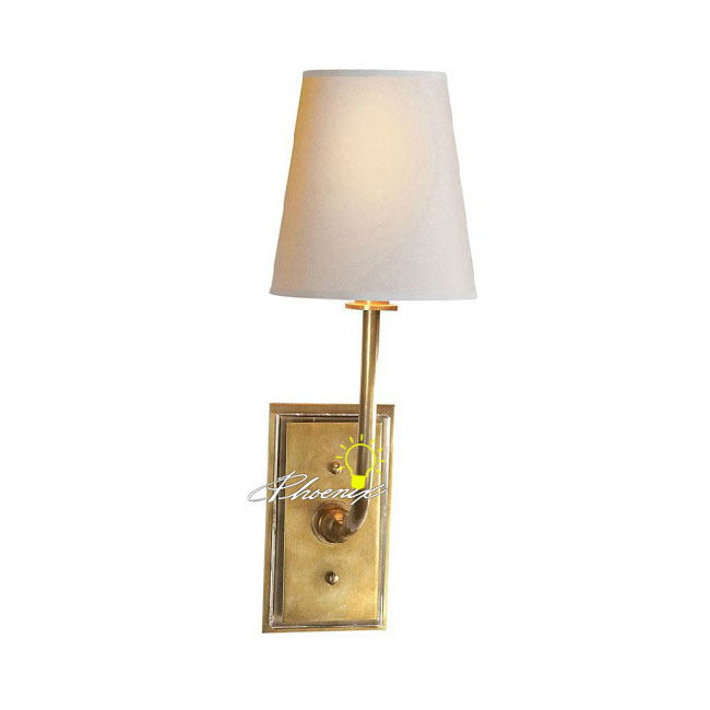 Antique Fabric and Copper Wall Sconce 8769