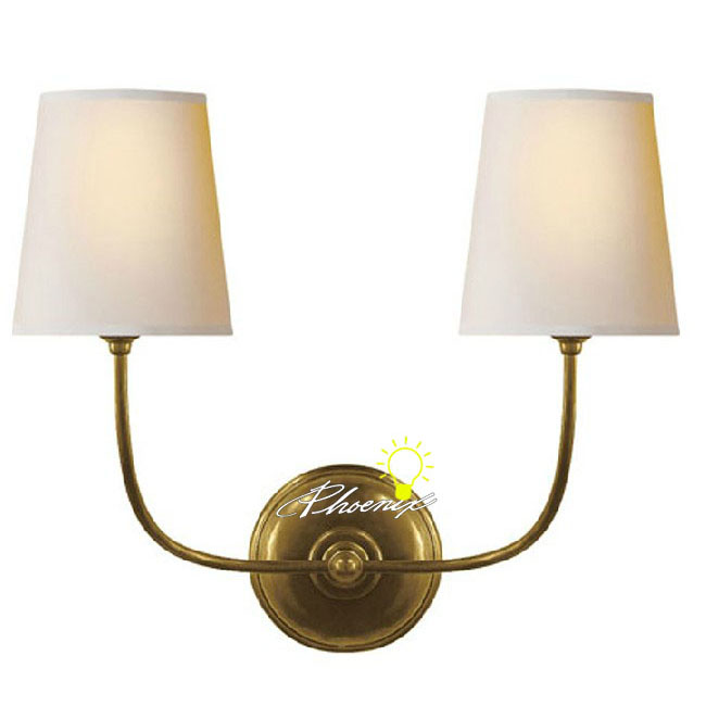 Antique Simple Double Lights Fabric and Copper Wall Sconce 8770