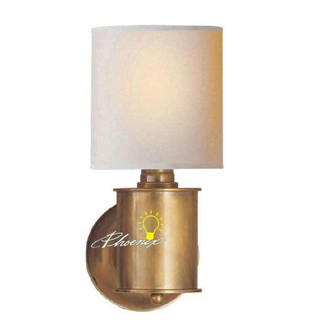 Antique Fabric and Copper Wall Sconce 8772