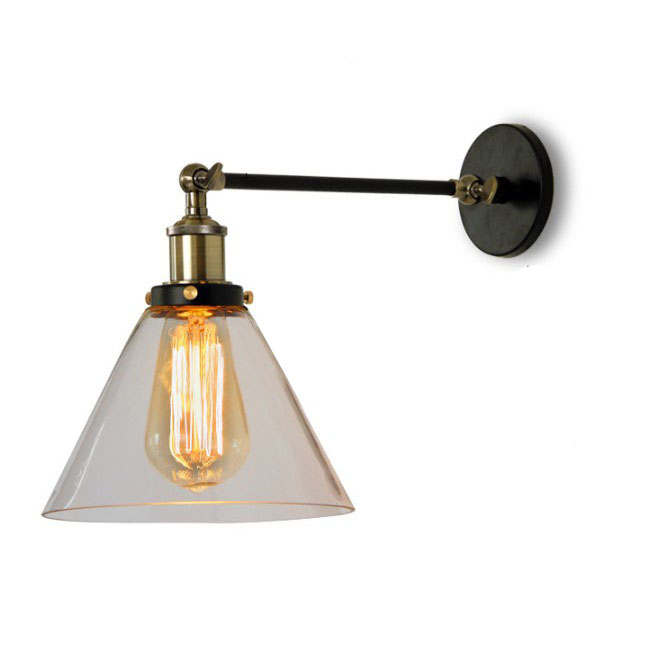 Clear Glass and Copper Wall Sconce 8899