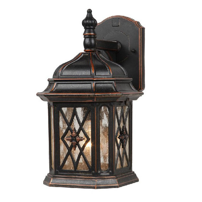 Antique Metal And Bubble Glass Wall Sconce 9545