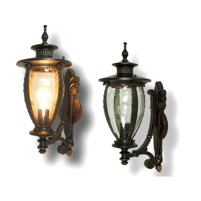 Outdoor 0508 Clear and Amber Bubble Glass Wall Sconce 9574
