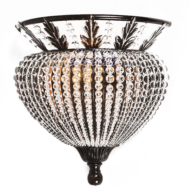 North Antique Iron And Crystal Wall Sconce 9847