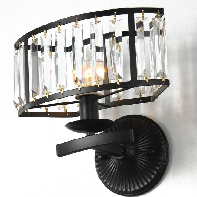 North Antiuqe Heavy Metal and Crystal Wall Sconce 9850