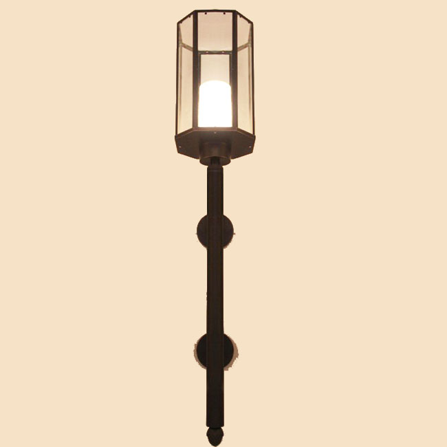 Country Antique Copper And Clear Glass Wall Sconce 10018