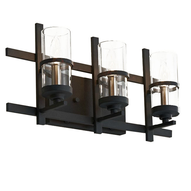 Post Modern 3 Clear Glass Tube Wall Sconce in Rusted Finish 1008