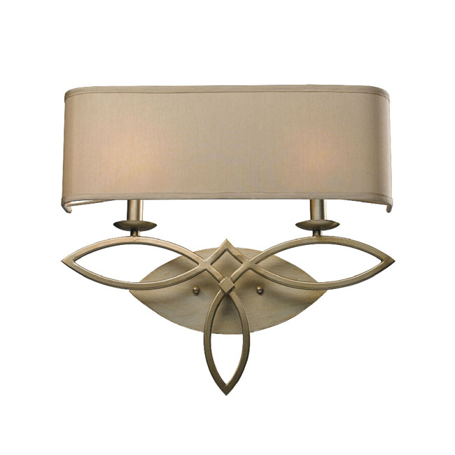 Antique Country Metal and Flax Shade wall Sconce in Brushed Fini