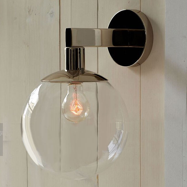 Modern Clear Glass Orb Wall Sconce in Chrome Finish 11249