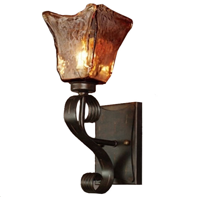 Antique Cognac Handmade Crystal Shade And Iron Wall Sconce 11313