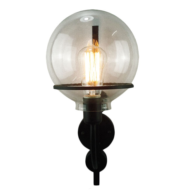 Country Iron and Orb Glass Shade Wall Sconce 11472