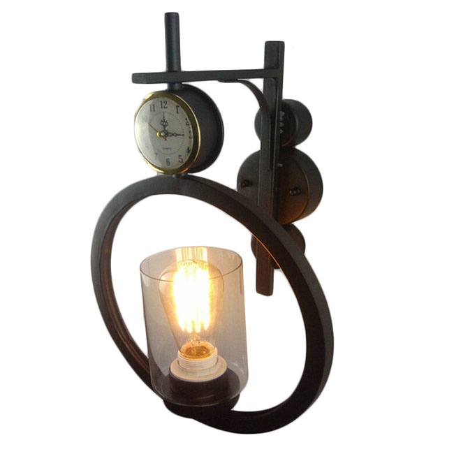 Iron and Glass Shade Wall Sconce With Clock 11477