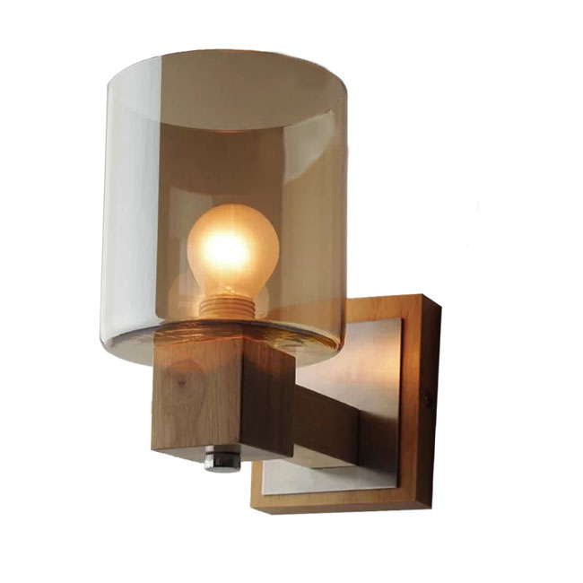 Modern Wood Site and Cognac Glass Shade Wall Sconce 11598