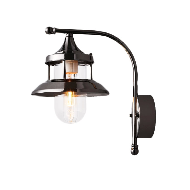 PHX Plating Industrial Iron and Glass Shade Wall Sconce 12028