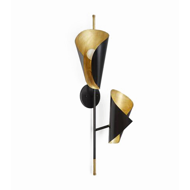 Black and Brass Cigale Twisting WAll Sconce 13432