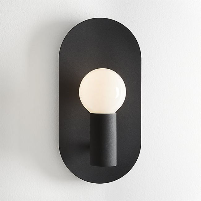 Plate Matte Black Wall Sconce 15299