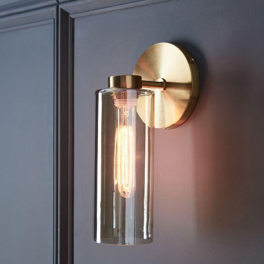 Antique Brass Backing Glass Cylinder Sconce 17172
